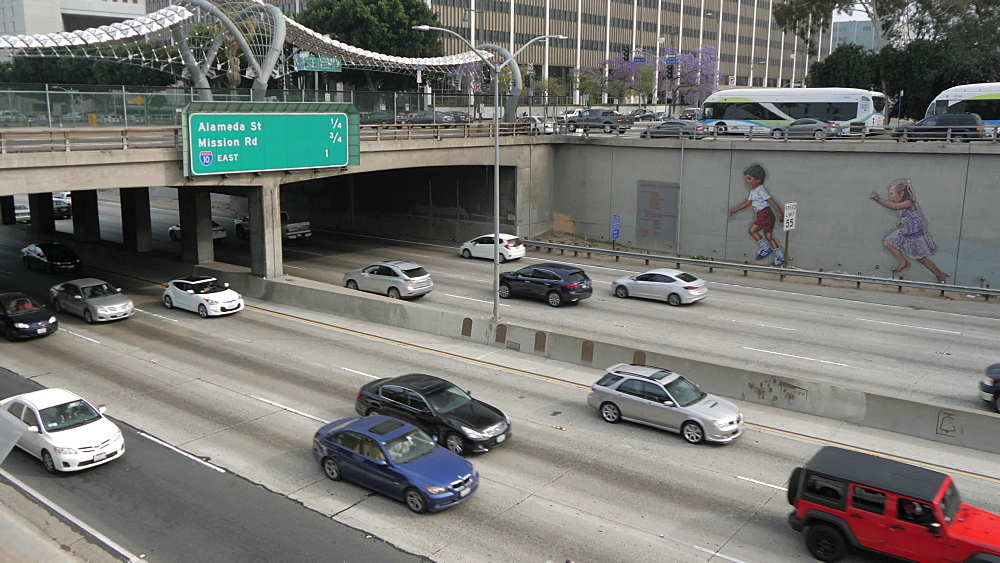 Traffic on Highway 101 in Downtown LA near City Hall, Los Angeles, California, United States of America, North America
