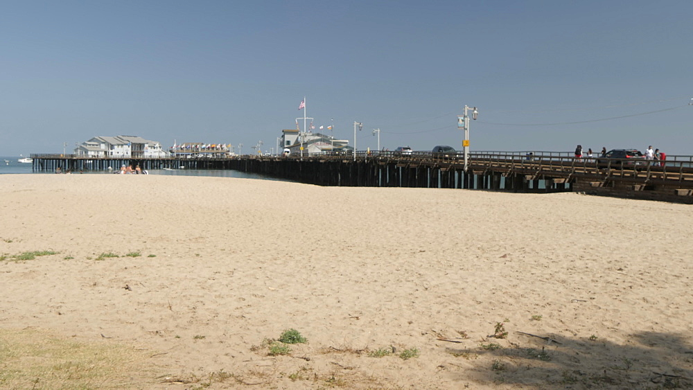 Stearns Wharf Pier and beach, Santa Barbara, California, United States of America, North America