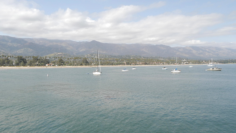 View from Stearns Wharf Pier and beach, Santa Barbara, California, United States of America, North America