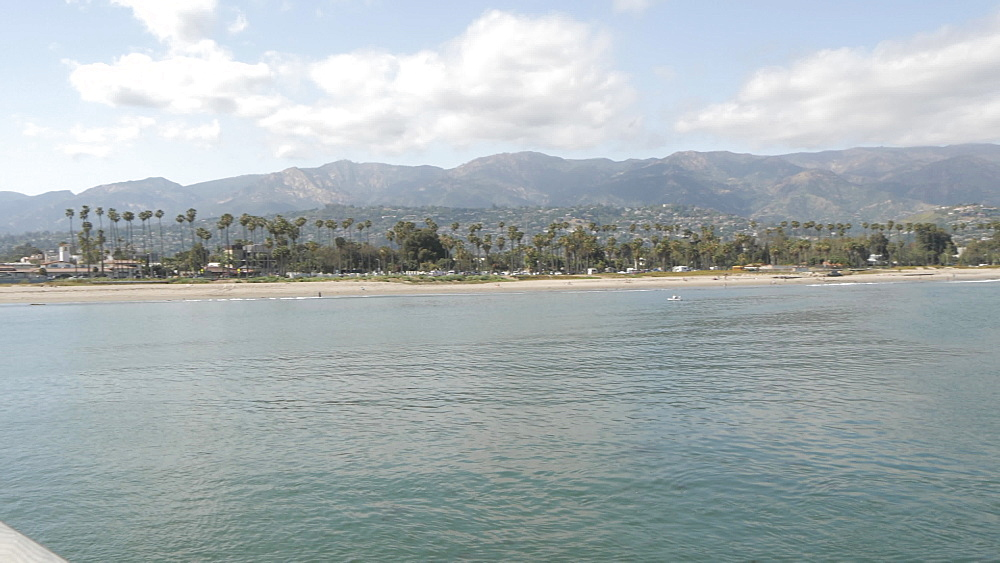 View from Stearns Wharf Pier of beach and coastline, Santa Barbara, California, United States of America, North America