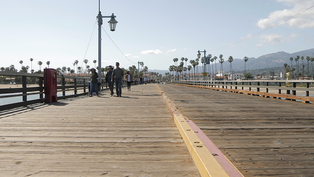 View of Stearns Wharf Pier and beach, Santa Barbara, California, United States of America, North America