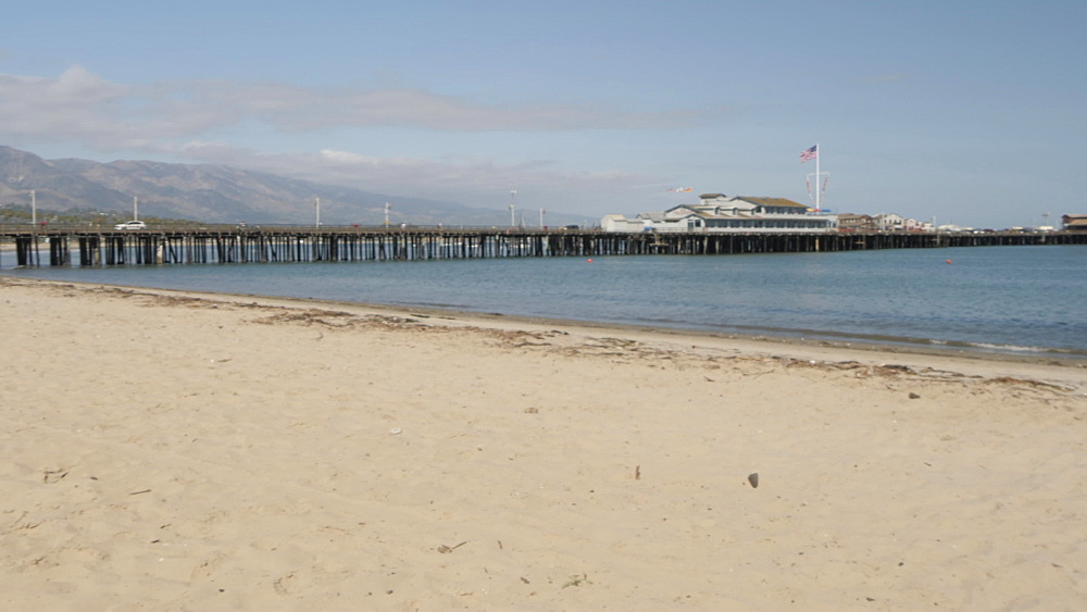 Lifeguard watchtower and Stearns Wharf Pier from beach, Santa Barbara, California, United States of America, North America