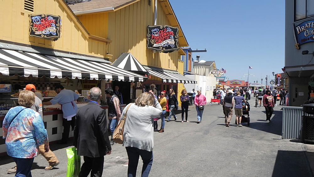 People and shops on Old Fisherman's Wharf, Monterey Peninsula, California, United States of America, North America