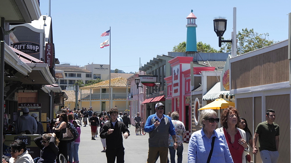 Visitors and shops, Old Fisherman's Wharf, Monterey Peninsula, California, United States of America, North America