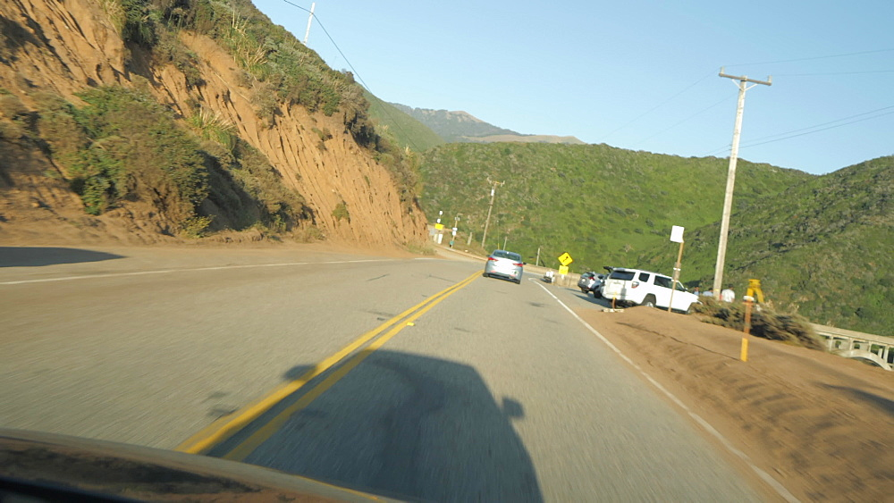 Car journey along Cabrillo Highway 1 at Big Sur, near Carmel, California, United States of America, North America
