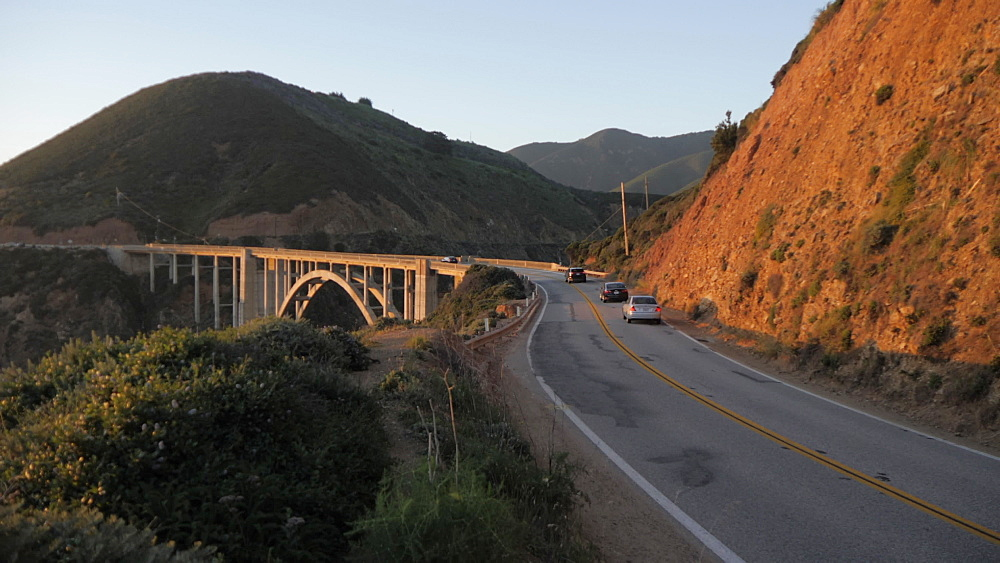 View of cars on Cabrillo Highway 1 over Bixby Creek Bridge at Big Sur, California, United States of America, North America