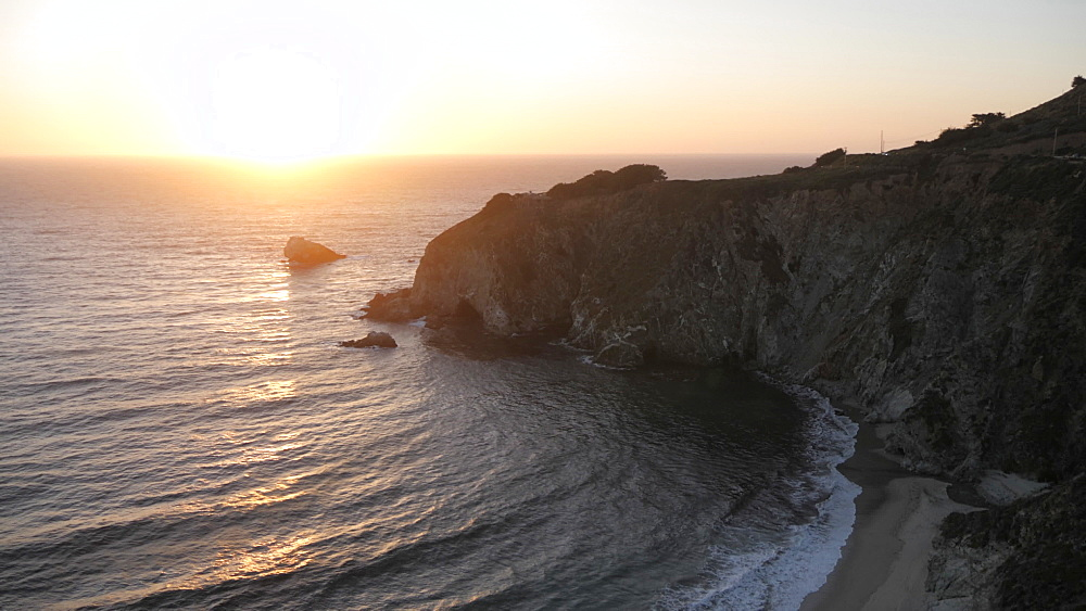 View of sunset from Cabrillo Highway 1 at Big Sur, California, United States of America, North America