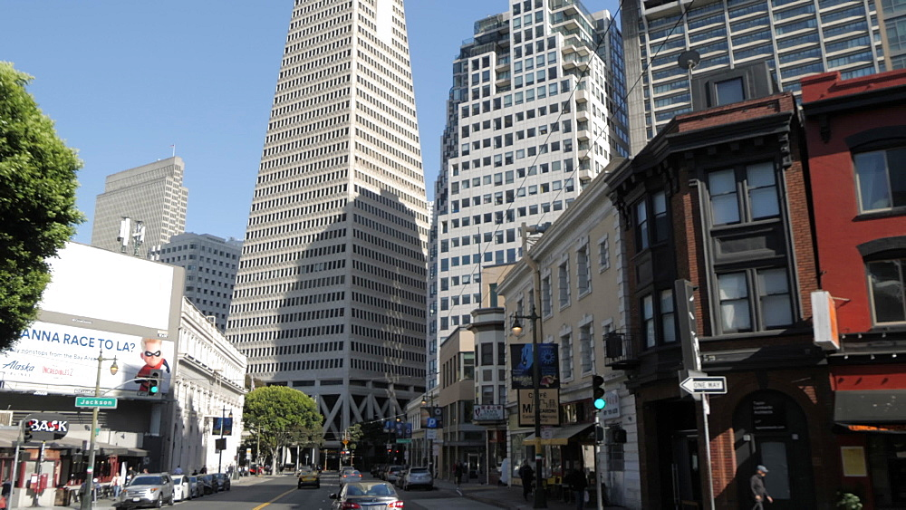 Travelling on Columbus Street towards Transamerica Pyramid, San Francisco, California, United States of America, North America