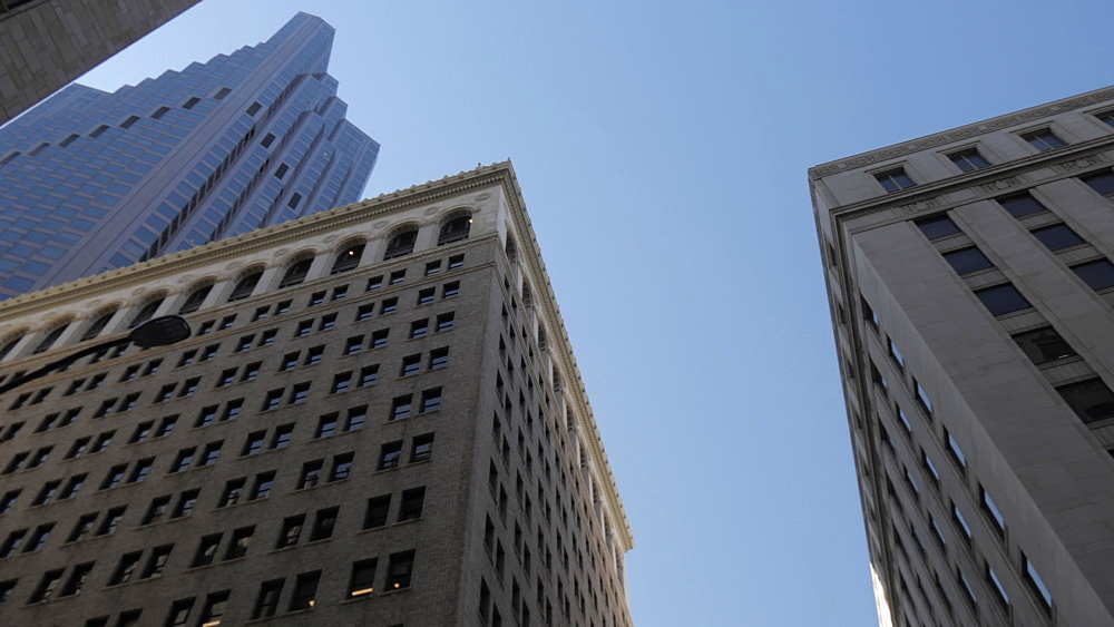 Travelling on Montgomery Street looking up at skyscrapers in Financial District, San Francisco, California, United States of America, North America - 844-17540