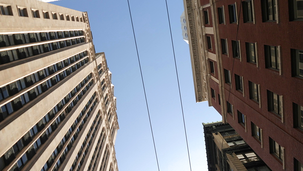 Travelling on Montgomery Street looking up at skyscrapers in Financial District, San Francisco, California, United States of America, North America - 844-17541