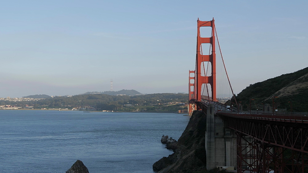 The Golden Gate Bridge at sunset, San Francisco, California, United States of America, North America