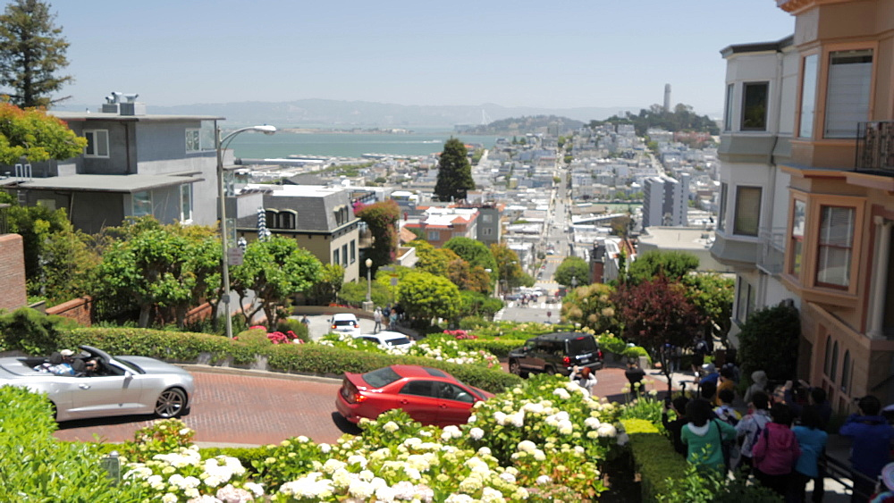 View from top of Lombard Street (Crookedest Street in the World), San Francisco, California, United States of America, North America