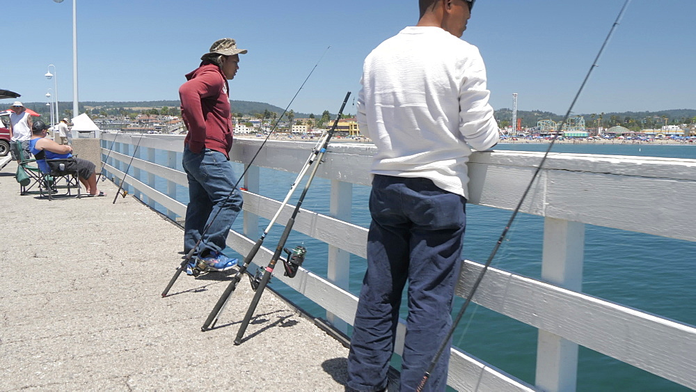 Fishermen on Municipal Wharf, Santa Cruz, California, United States of America, North America