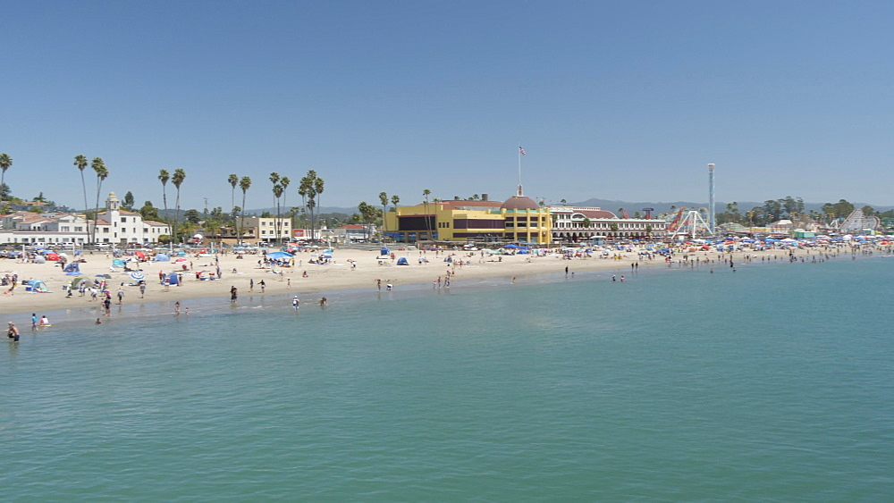 View of coastline and beach from Municipal Wharf, Santa Cruz, California, United States of America, North America