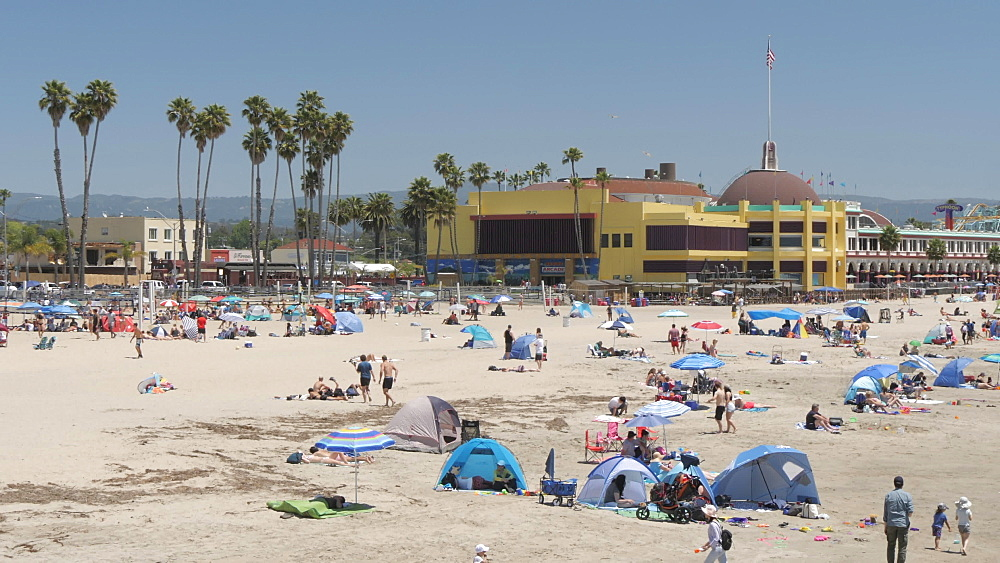 View of beach from Municipal Wharf, Santa Cruz, California, United States of America, North America