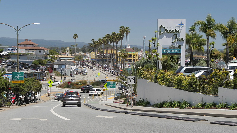 View of Beach Street and the beach on summer'?s day, Santa Cruz, California, United States of America, North America