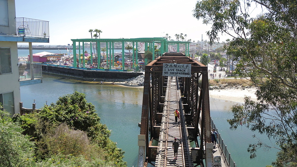 View over San Lorenzo River Railroad Bridge on summer'?s day, Santa Cruz, California, United States of America, North America