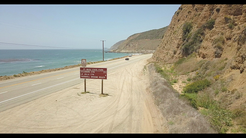Flight close to Highway 1 and West Coast North of Malibu, California, United States of America, North America