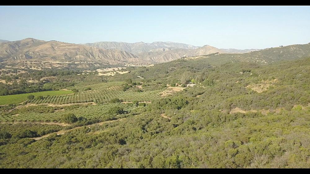Flight over countryside inland from West Coast near Santa Barbara, California, United States of America, North America
