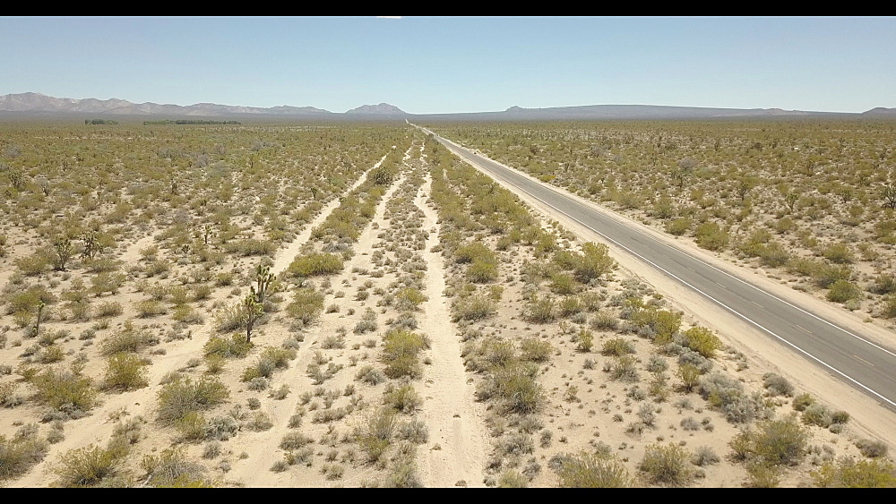 Flight over Mojave National Preserve near Highway 15, California, United States of America, North America