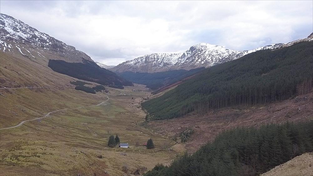 Aerial view near Ardgartan in winter, Argyll and Bute, Scottish Highlands, Scotland, United Kingdom, Europe