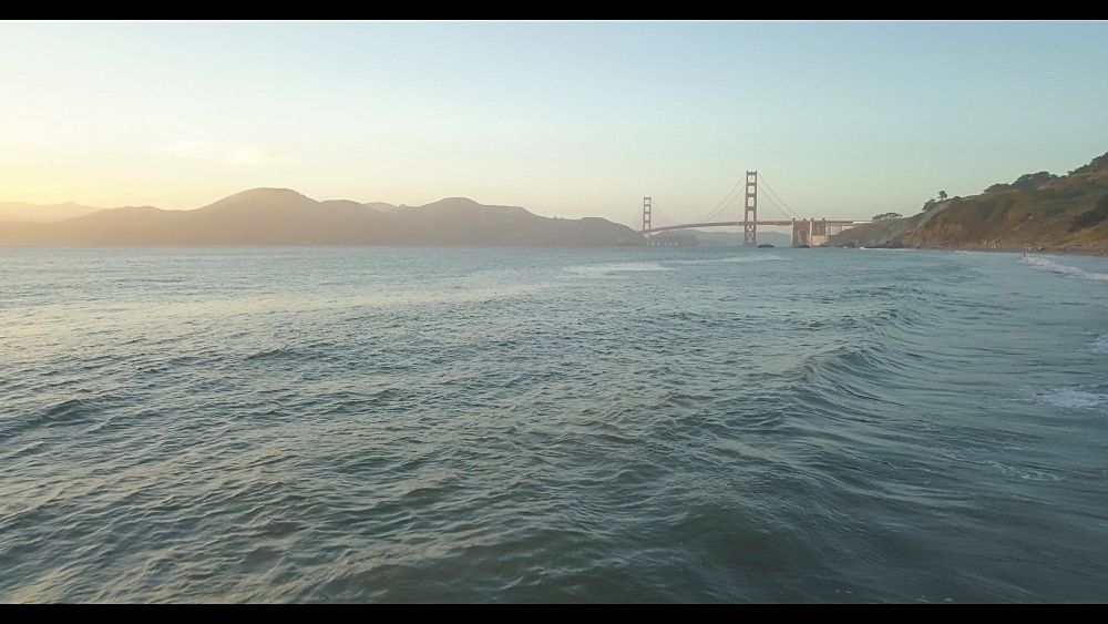 View from China Beach towards Golden Gate Bridge at sunset, San Francisco, California, United States of America, North America