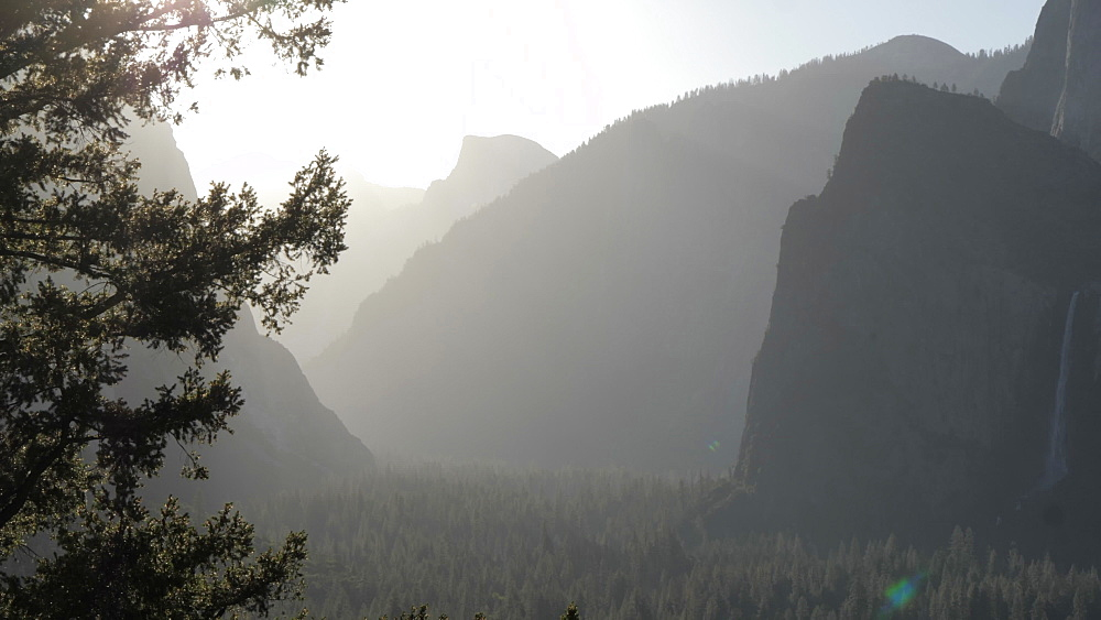 View of Yosemite Valley from Tunnel View at sunrise, Yosemite National Park, UNESCO World Heritage Site, California, United States of America, North America