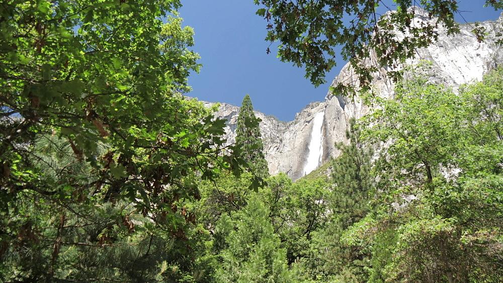 View of Upper Yosemite Falls overlooking Yosemite Village, Yosemite National Park, UNESCO World Heritage Site, California, United States of America, North America
