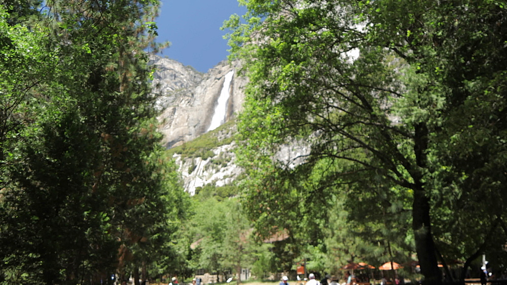 View of Upper Yosemite Falls shuttle bus in Yosemite Village, Yosemite National Park, UNESCO World Heritage Site, California, United States of America, North America