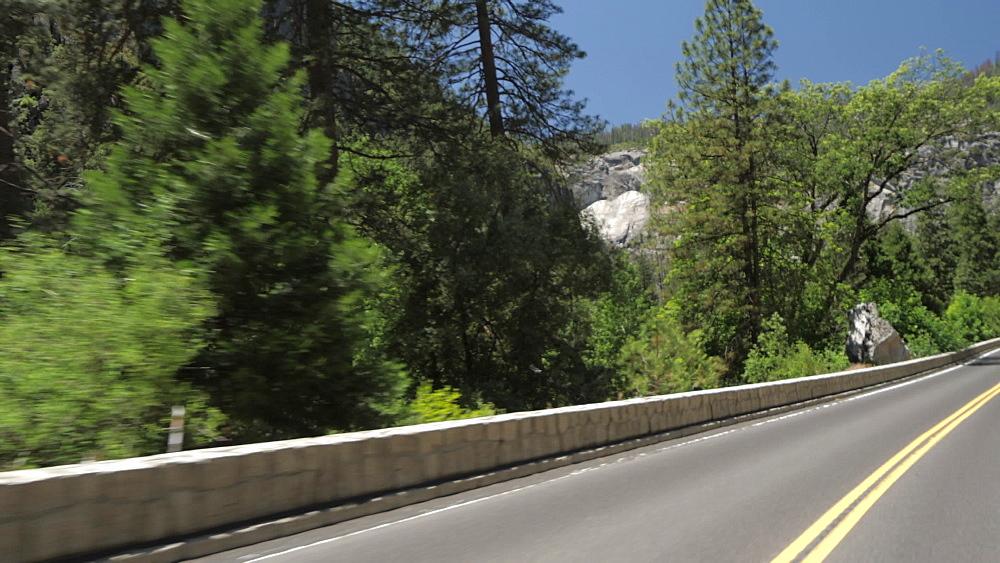 Travelling through Yosemite Valley, Yosemite National Park, UNESCO World Heritage Site, California, United States of America, North America