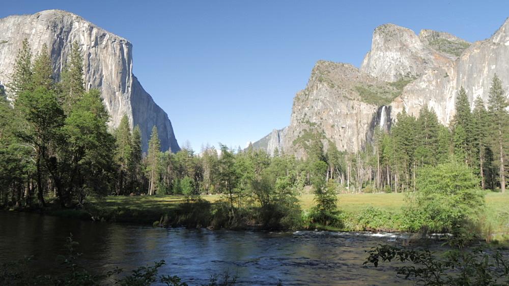 View of Bridalveil Falls, El Capitan and Merced River, Yosemite National Park, UNESCO World Heritage Site, California, United States of America, North America