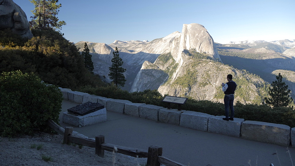 View of Glacier Point sign, visitors and Half Dome from Glacier Point at sunset, Yosemite National Park, UNESCO World Heritage Site, California, USA, North America - 844-17818