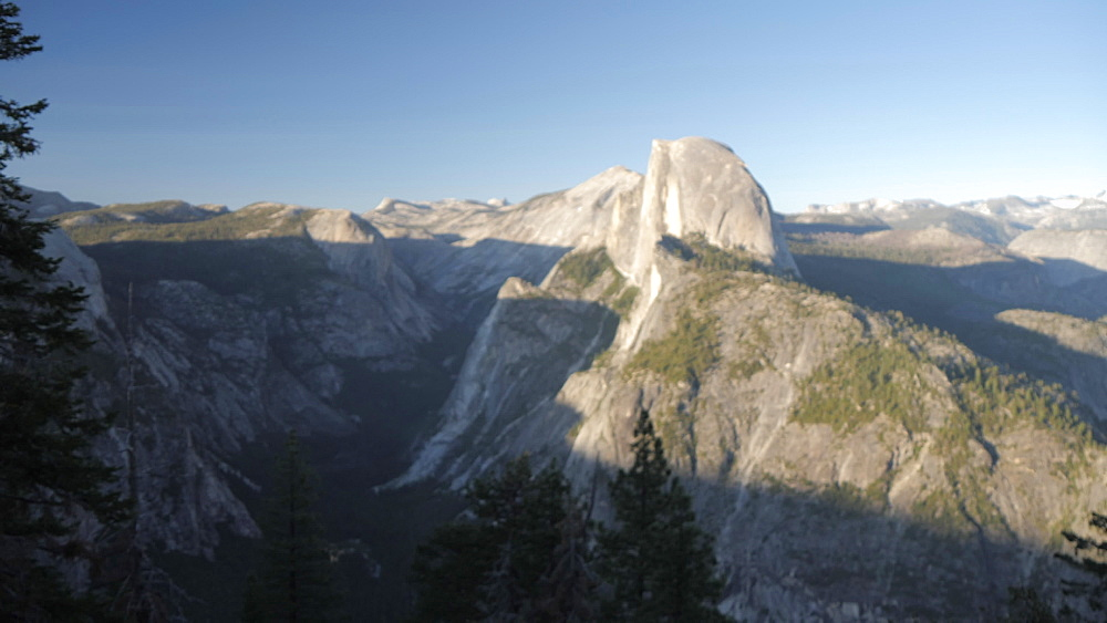 View of Glacier Point sign and Half Dome from Glacier Point at sunset, Yosemite National Park, UNESCO World Heritage Site, California, United States of America, North America