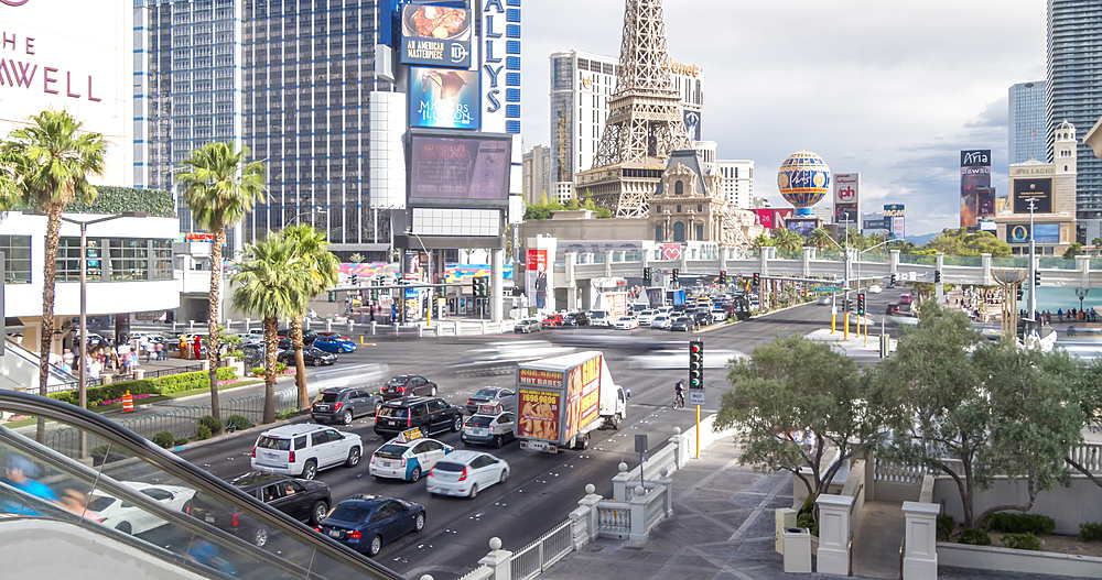 Time lapse of intersection of Las Vegas Boulevard and East Flamingo Road, Las Vegas, Nevada, USA, North America - 844-18058