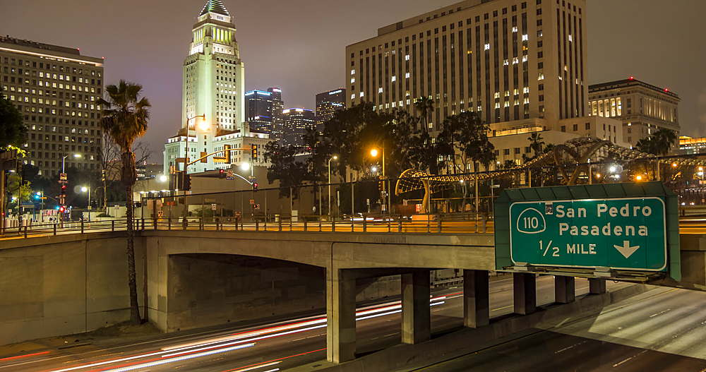 Time lapse of Sant Ana Freeway and City Hall, Downtown Financial District at night, Los Angeles, California, USA, North America - 844-18063