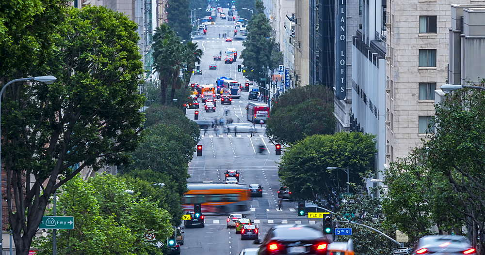 Time lapse of traffic on Grand Avenue, Downtown Financial District, Los Angeles, California, USA, North America - 844-18064