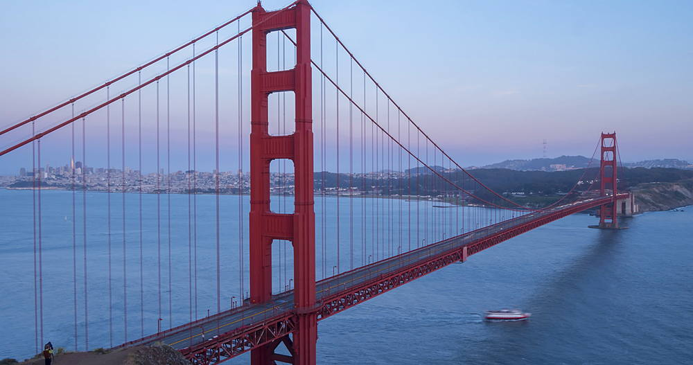 Time lapse of traffic on Golden Gate Bridge from Golden Gate Park at dusk, California, USA, North America - 844-18065