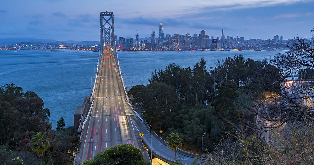 Time lapse of traffic on Oakland Bay Bridge from Yerba Buena Island at dusk, San Francisco, California, USA, North America - 844-18066