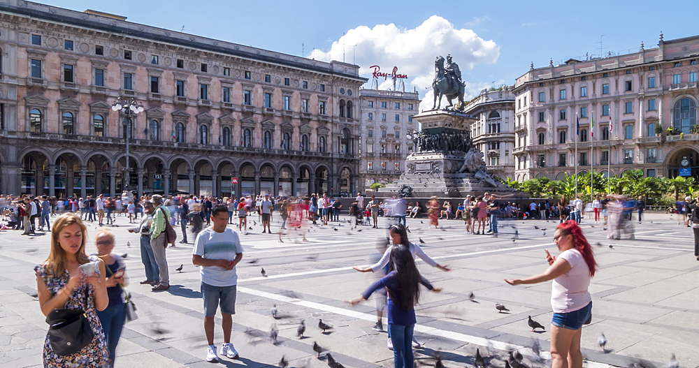 Time lapse of people and Vittorio Emanuele II in Piazza del Duomo, Milan, Lombardy, Italy, Europe - 844-18070