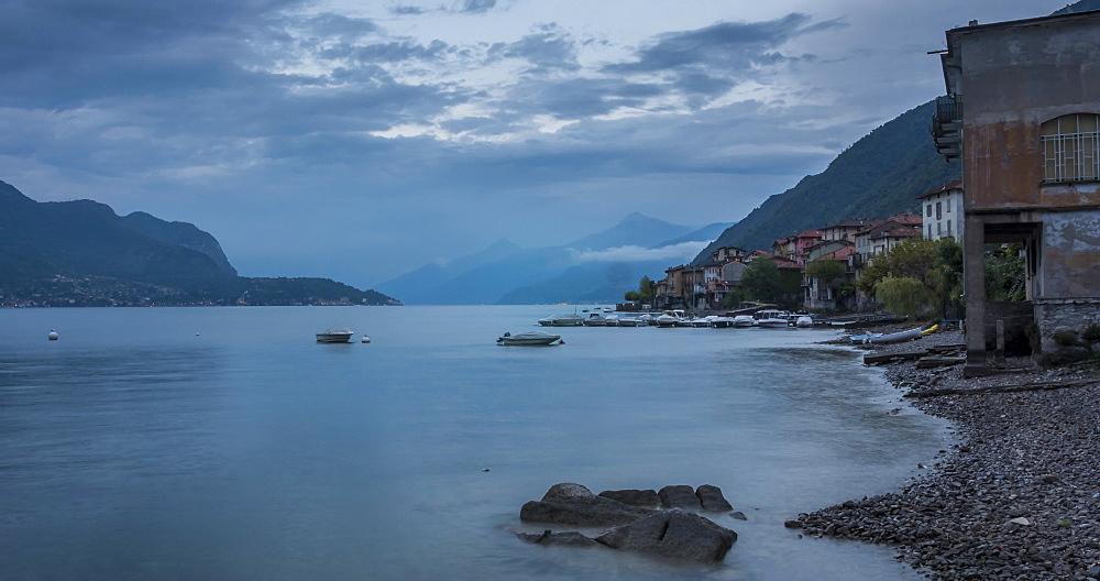 Time lapse of lake and boats near Lezzeno at dusk, Lake Como, Lombardy, Italy, Europe - 844-18071