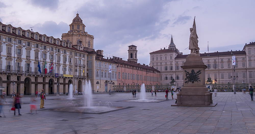 Time lapse of Piazza Castello surrounded by Palazzo Madama and Palazzo Reale at dusk, Turin, Piedmont, Italy, Europe - 844-18074
