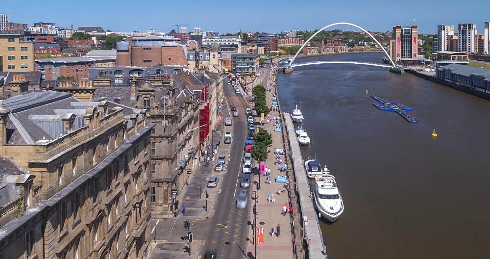Time Lapse of Gateshead Millennium Bridge viewed from Tyne Bridge, Newcastle-upon-Tyne, Tyne and Wear, England, United Kingdom, Europe - 844-18079