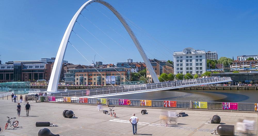 Time Lapse of Gateshead Millennium Bridge, Newcastle-upon-Tyne, Tyne and Wear, England, United Kingdom, Europe - 844-18080