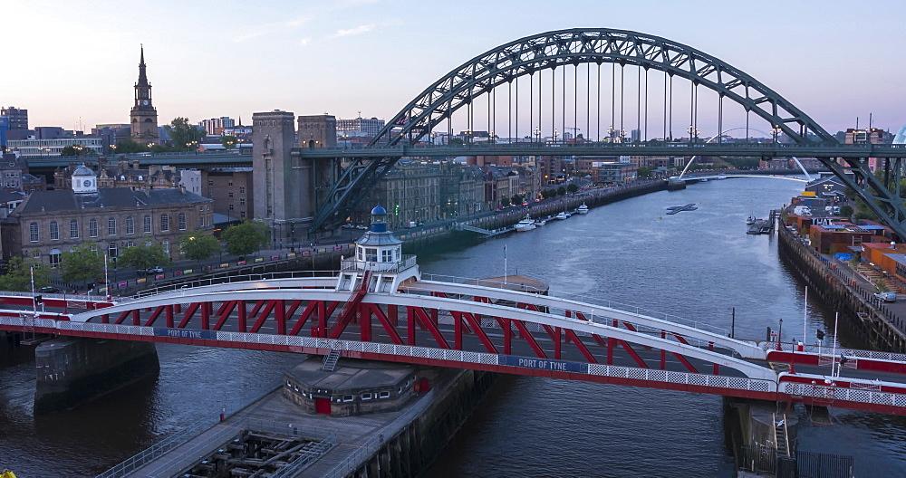 Time Lapse of View of The Tyne Bridge, Swing Bridge and Tyne River at dusk, Newcastle-upon-Tyne, Tyne and Wear, England, United Kingdom, Europe - 844-18081