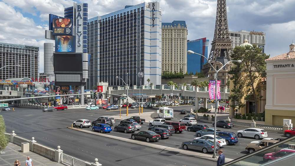 Time lapse of intersection of Las Vegas Boulevard and East Flamingo Road, Las Vegas, Nevada, USA, North America - 844-18083