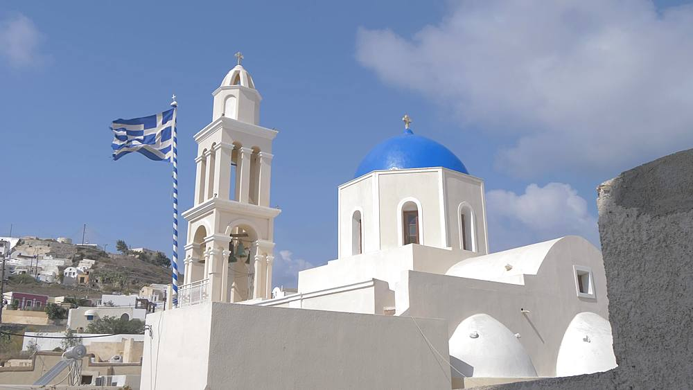Panning shot of Agia Throdosia Church from the Monastery in Akrotiri, Santorini, Greek Islands, Greece, Europe - 844-18090