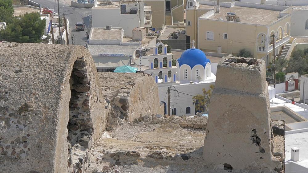 Tilting shot of the island from the Monastery in Akrotiri, Santorini, Greek Islands, Greece, Europe - 844-18091