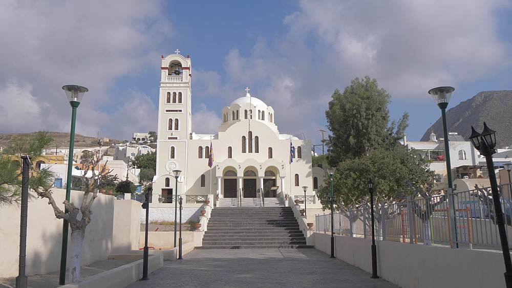 Crane shot of Panagia Mesani Orthodox Church, in Emporio, Santorini, Greek Islands, Greece, Europe - 844-18092