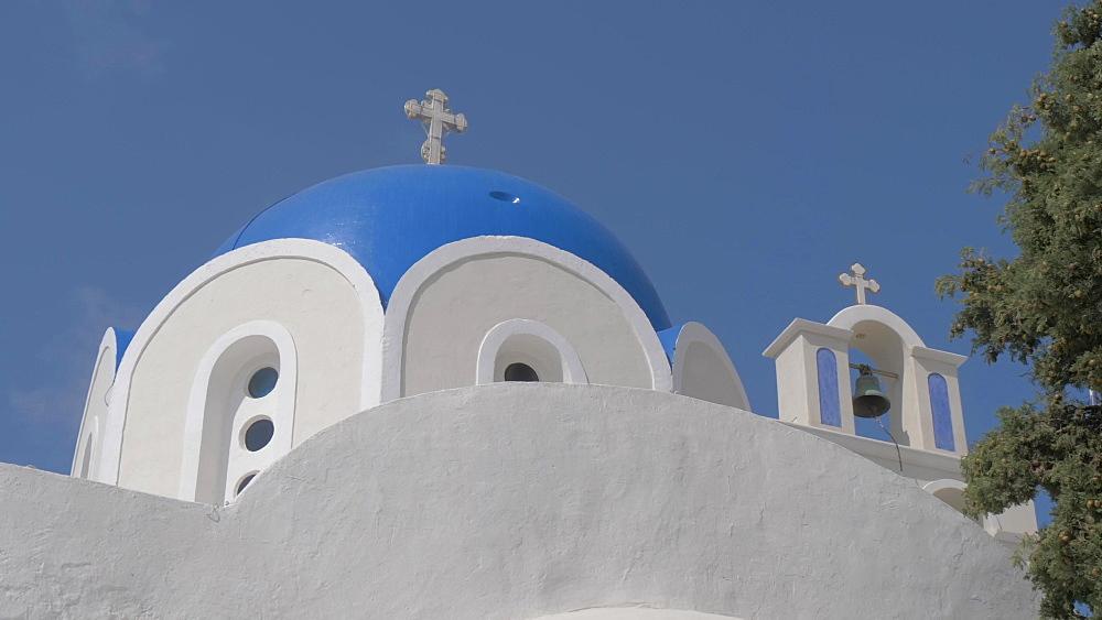 Close panning shot of blue dome of St. Epifanios Traditional Orthodox Church, Santorini, Greek Islands, Greece, Europe - 844-18093