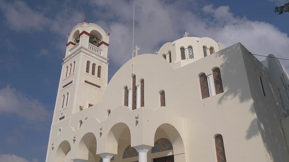 Tilt shot of Panagia Mesani Orthodox Church, in Emporio, Santorini, Greek Islands, Greece, Europe - 844-18104